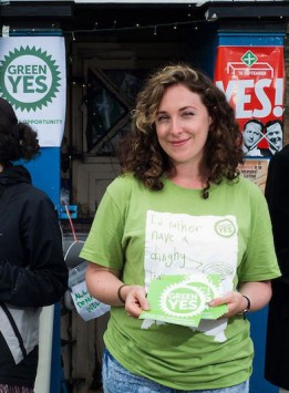 campaigning from the Green Yes Tardis during the referendum