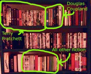 Alongside Douglas Coupland's works, Terry Pratchett's books outnumber all the fiction I own by all other authors.