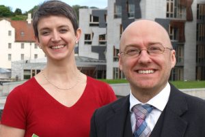 Cllr Maggie Chapman and Patrick Harvie MSP - Co-conveners of the Scottish Green Party