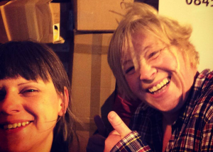 Yvonne and Jen being brilliant (and I *think* being relieved after packing up a van load of donations for refugees)