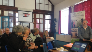 Dave Gibb chairs the community meeting in Wanlockhead