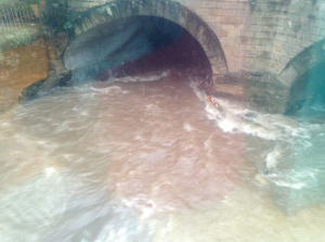 The Slitrig roaring past the Heart of Hawick as I chatted to Esther Carmen about flooding