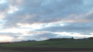 The Eildon Hills with Smailholm Tower