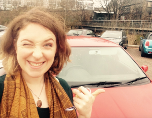 "My chuffed face at my ""new"" car :-)"