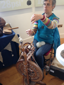 Debbie Zawinski from Haddington Spinners and Weavers demonstrating a bit of spinning. She wrote a fab book on the sheep of Scotland and the socks that come from them!