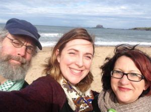 On the beach in North Berwick with Eurig Scandrett and Isla Aitken at the spot where the council wants to build a car park
