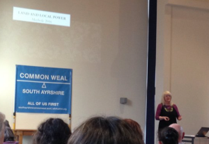 Lesley Riddoch speaking at the South Ayrshire Common Weal meeting in Maybole
