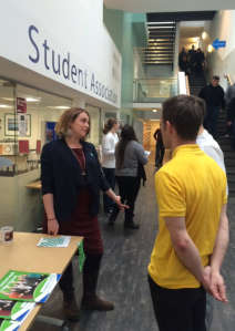 Chatting with students at D&G College