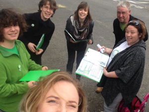 With fab Green campaigners getting ready for canvassing in Fenwick