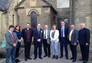 Outside Duns Parish Church with fellow candidates from the constituency and region