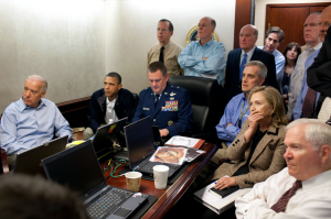 President Obama and Secretary of State Hillary Clinton watch as the operation to kill Bin Laden is under way